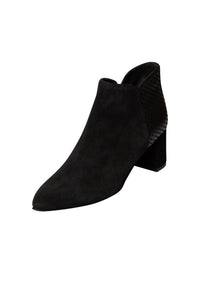 Black Italian suede heeled ankle boot with pointed toe and suede dot detail on heel block