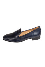 classic navy Italian leather loafer