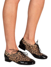 leopard print suede black patent toe Italian leather brogues
