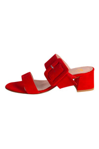 ROSE Pascucci Red Suede Heeled Slide