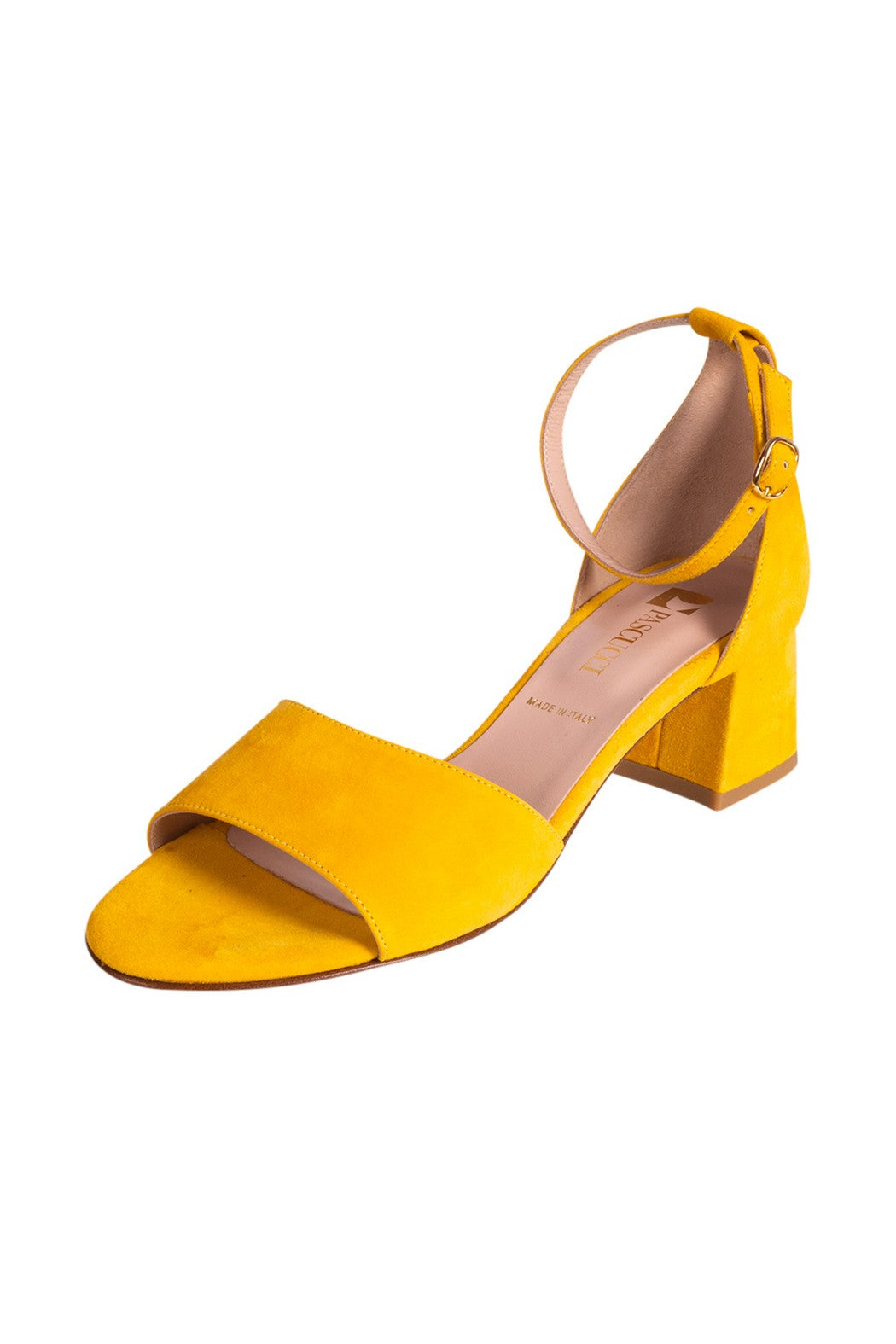 CARINA Pascucci Yellow Suede Heeled Sandal