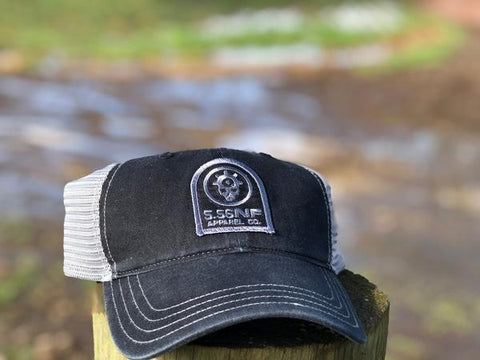 BLACK/CHARCOAL PATCH HAT - UNSTRUCTURED