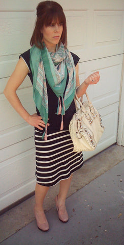 Brennan- Hannah Scarf- Mint, Jessica Handbag, and Talent Wedge