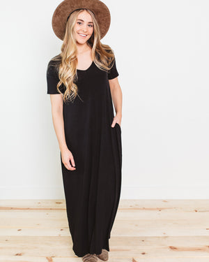 Caprice Double V-Neck Maxi Dress