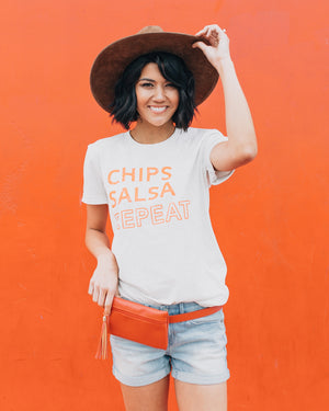 Chips Salsa Repeat Graphic T-Shirt | S-3XL