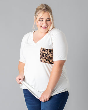 Chandler Leopard Pocket T-Shirt | 1XL-3XL