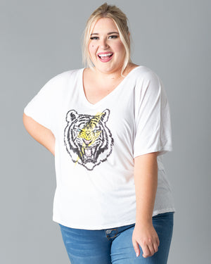 Tiger Lightning Bolt Graphic V-Neck T-Shirt | S-2XL