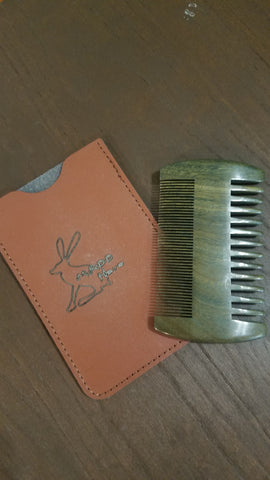 Maddhare Sandalwood Beard Comb with leather pouch