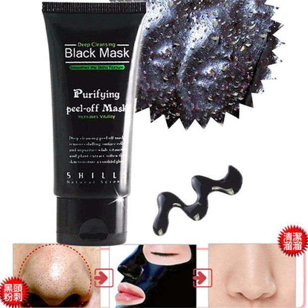 5pcs/lot Shills Black mask deep cleansing face mask Tearing style resist oily skin strawberry nose Acne remover black mud