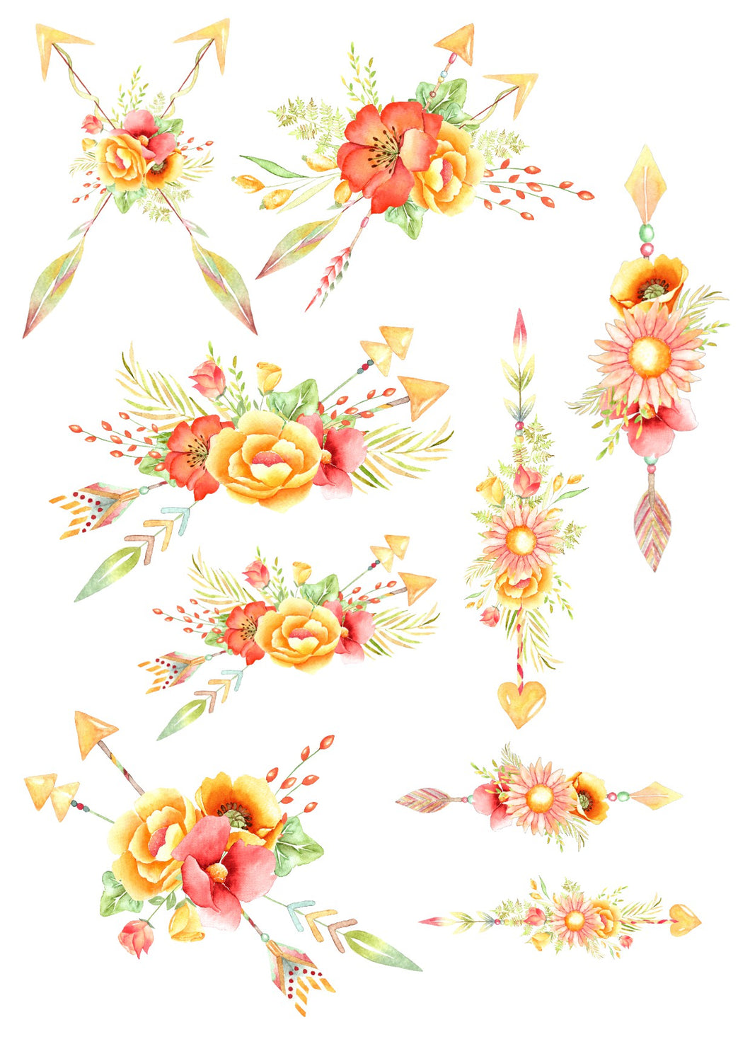 Red and Yellow Floral Arrows