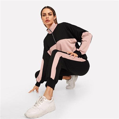845220c7f7 SHEIN Black Zip Front Stand Collar Two Tone Sweatshirt and Sweatpants Set  Women Two Pieces Sets