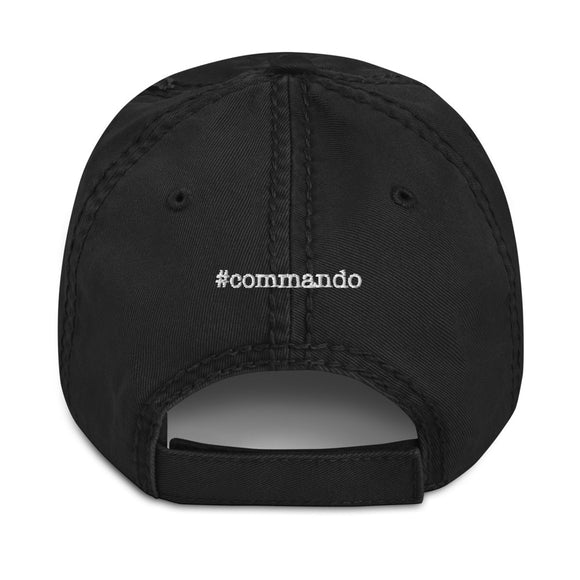 #commando Back Print Distressed Hat