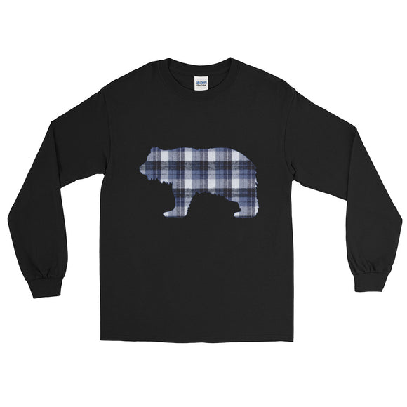 FLANNEL GRIZZLY BLUE Men's Long Sleeve Shirt - Two on 3rd