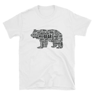 BLACK (on white) BEAR TALK Short-Sleeve Unisex T-Shirt - Two on 3rd
