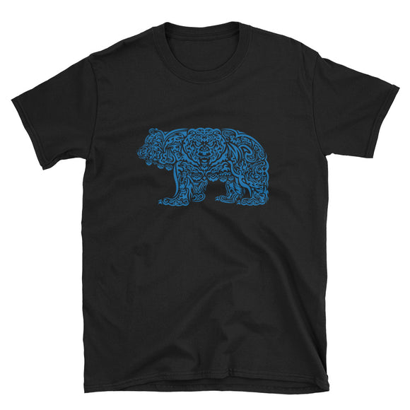 BLUE TRIBAL GRIZZLY Short-Sleeve Unisex T-Shirt - Two on 3rd