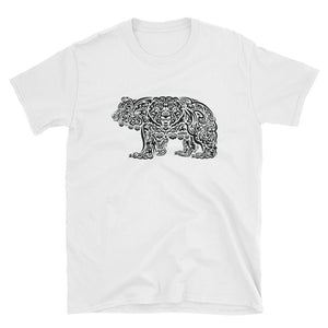 BLACK (on white) TRIBAL GRIZZLY Short-Sleeve Unisex T-Shirt - Two on 3rd