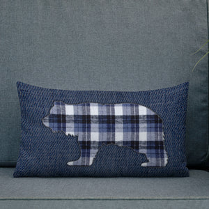 FLANNEL GRIZZLY BLUE Premium Pillow - Two on 3rd