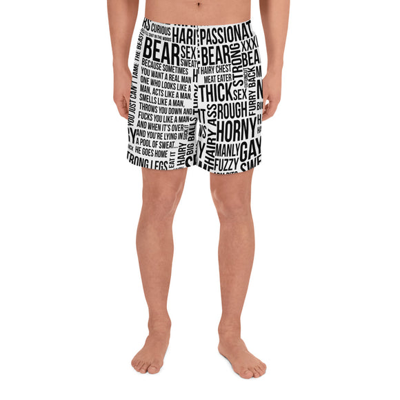 BEAR TALK All-Over Print Men's Athletic Long Shorts - Two on 3rd