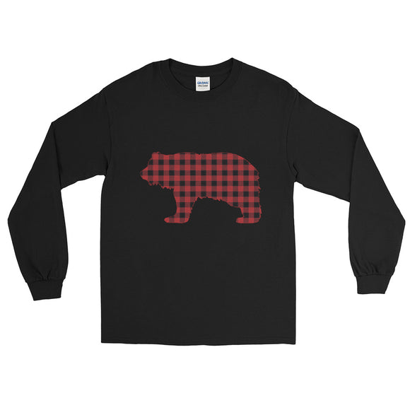 FLANNEL GRIZZLY RED Men's Long Sleeve Shirt - Two on 3rd