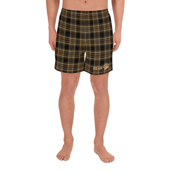 BEAR TARTAN All-Over Print Men's Athletic Long Shorts