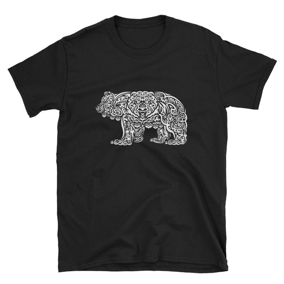 WHITE (on black) TRIBAL GRIZZLY Short-Sleeve Unisex T-Shirt