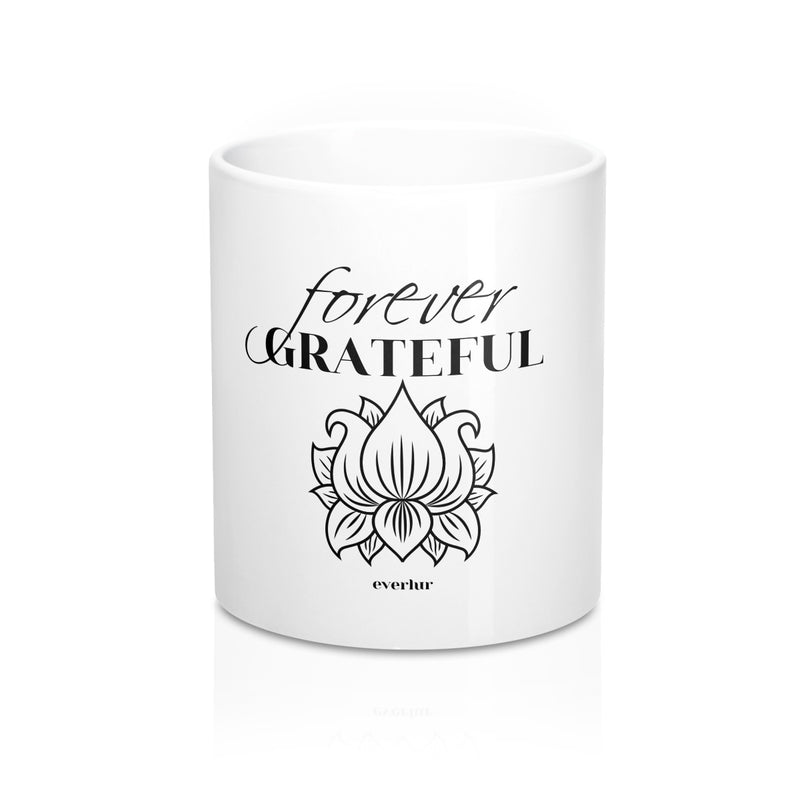 Express and feel gratitude with this white ceramic forever grateful coffee mug.