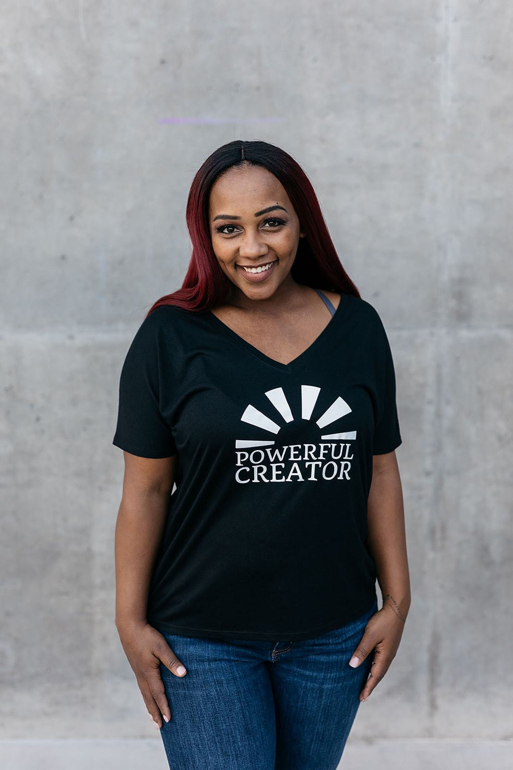 Powerful Creator Sunray V-Neck Tee - everlur spiritual clothing