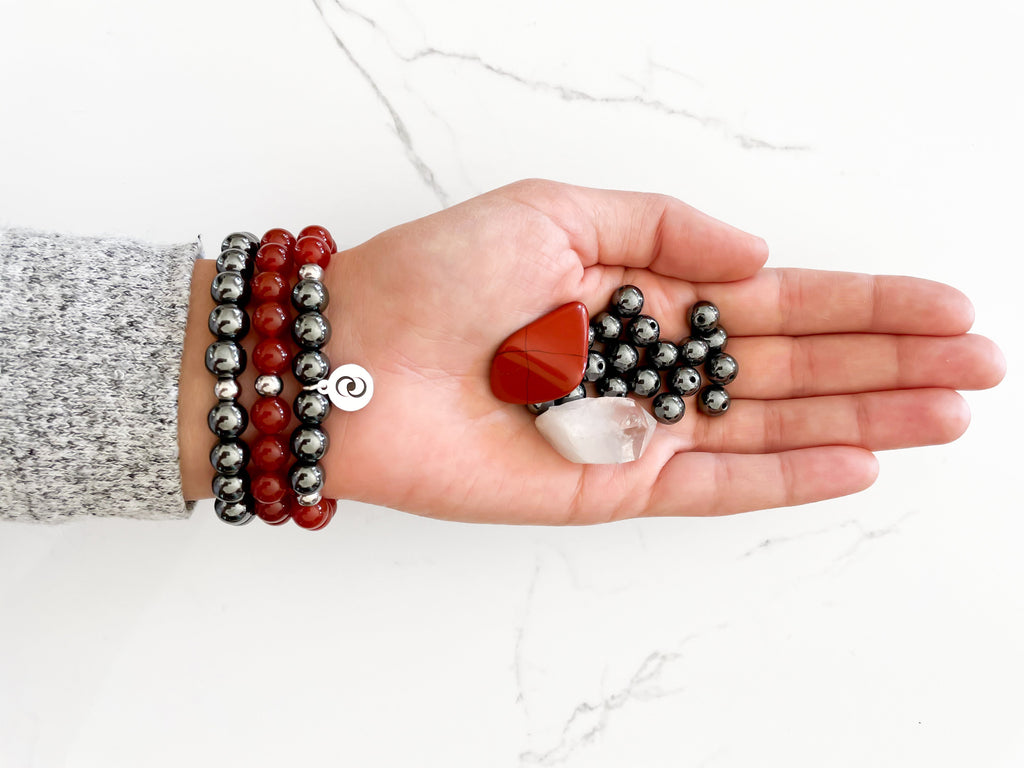 Healing crystal bracelet for inspiration, passion, and motivation with carnelian and hematite