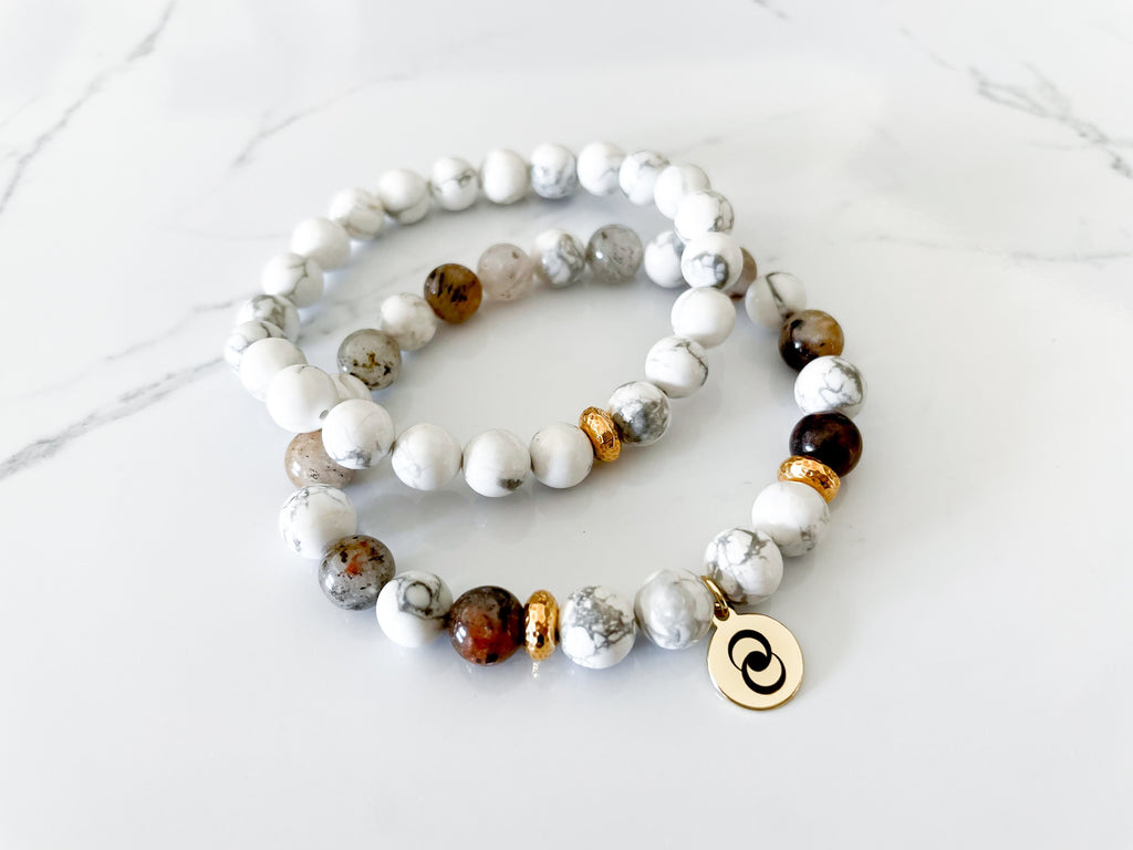 Positive Thinking Crystal Bracelet Howlite Stack