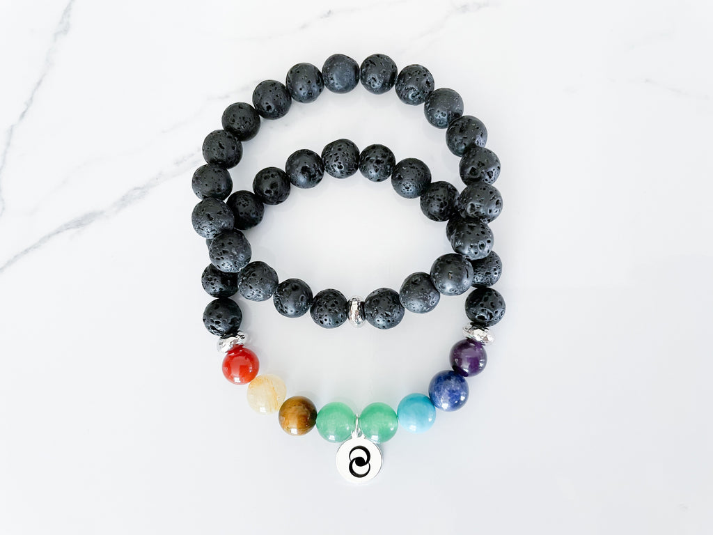 7 chakra healing bracelet for transformation and balance of energies with black lava