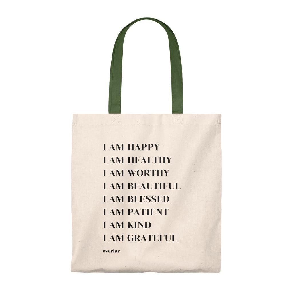 I am affirmations tote bag in green.