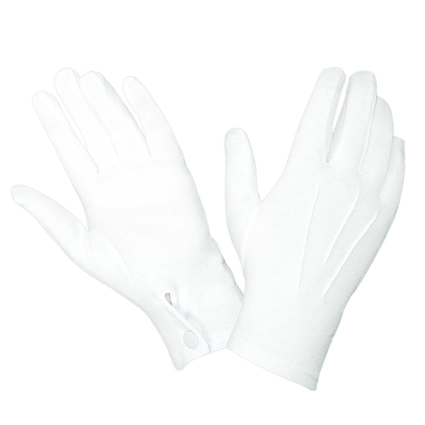 WG1000S - White Cotton Parade Gloves w/Snap Back - Safariland