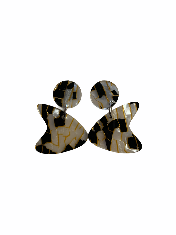 Boomerang Earrings - black and gold