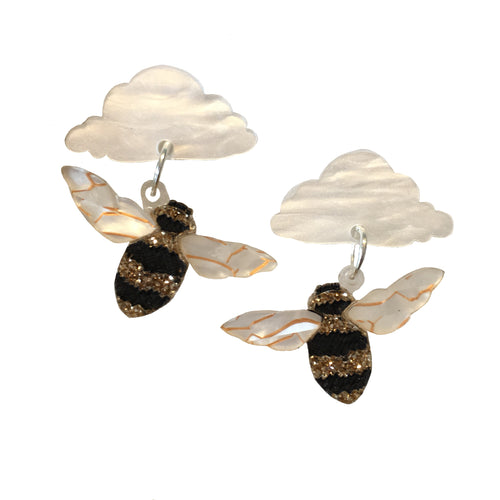 Bee in the clouds earrings