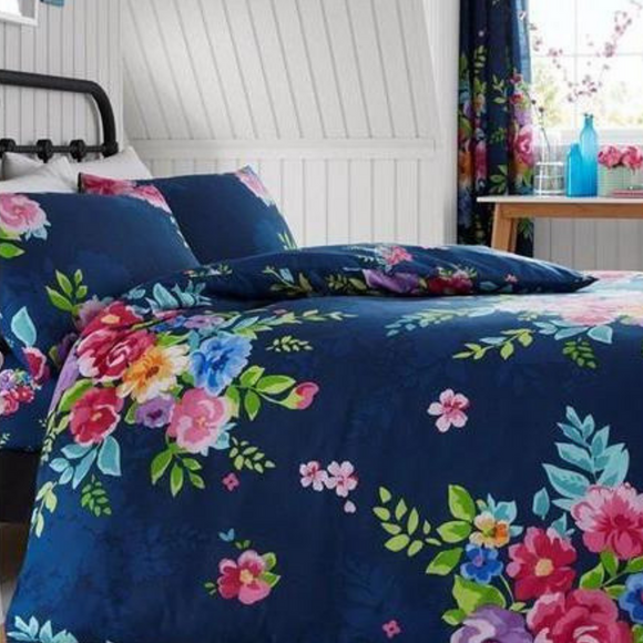 Alice Floral Navy & Pink Duvet Cover and Pillowcase Set