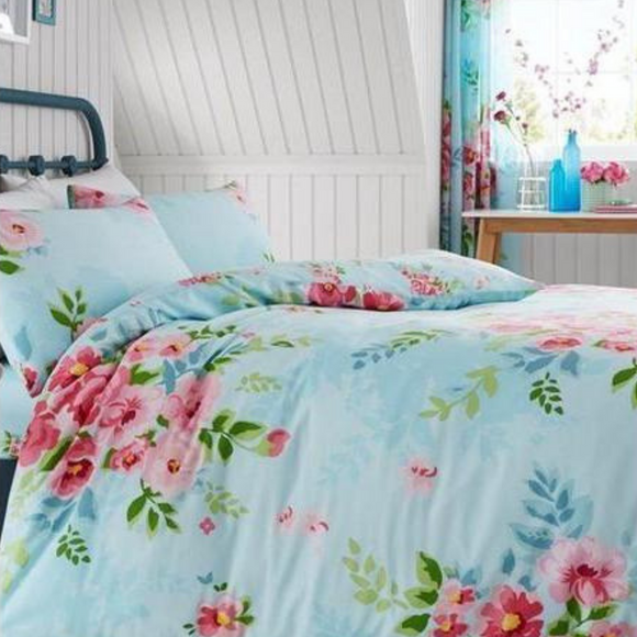 Alice Floral Turquoise & Pink Duvet Cover and Pillowcase Set