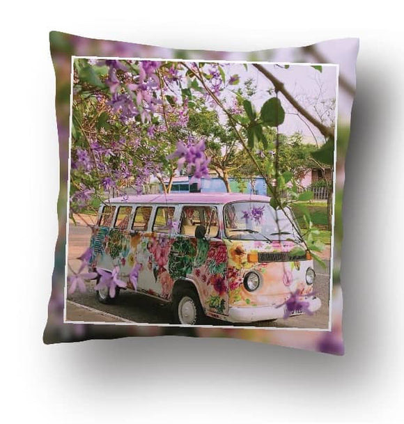 Scatter Cushion Pillowcase  - Custom Printed (Kombi Pink flowers)