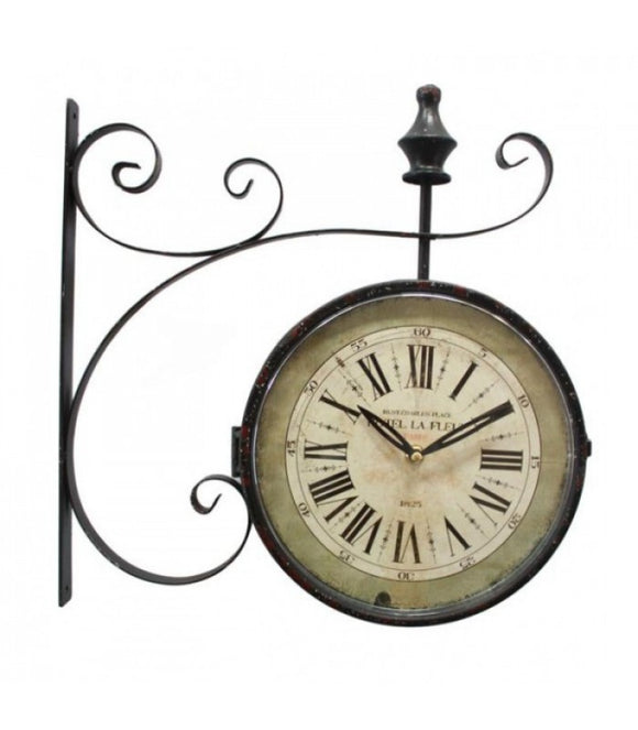 La Fleut Double Sided Iron Wall Clock