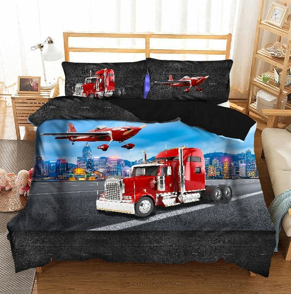 Red truck and Airplane  - Custom Print