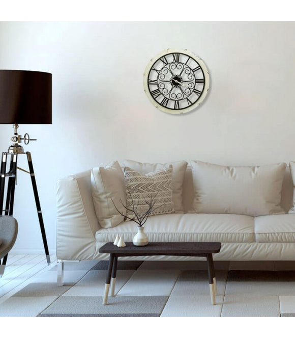 Rustic Iron Wood Wall Clock