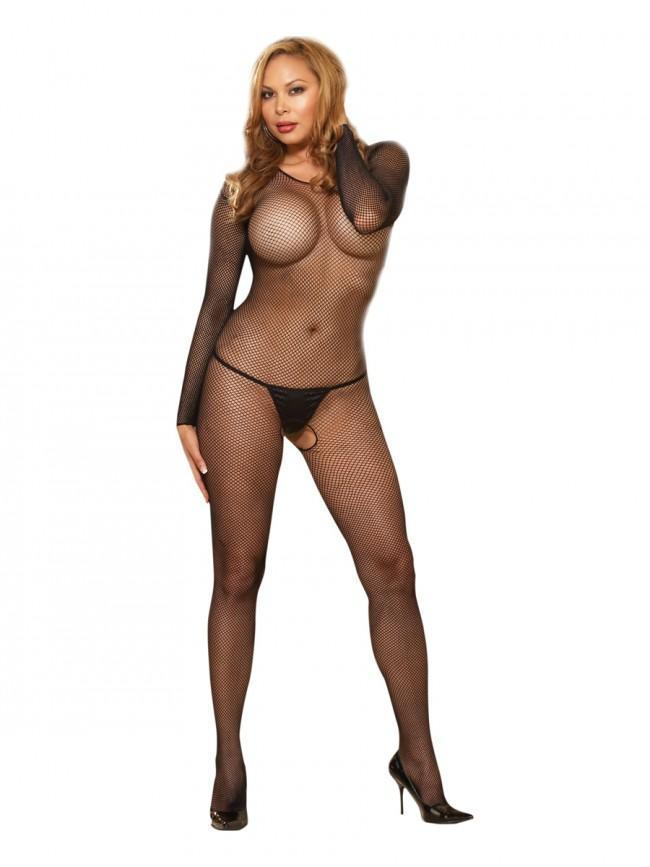 Dreamgirl Black Fishnet Crotchless Plus Size Bodystocking