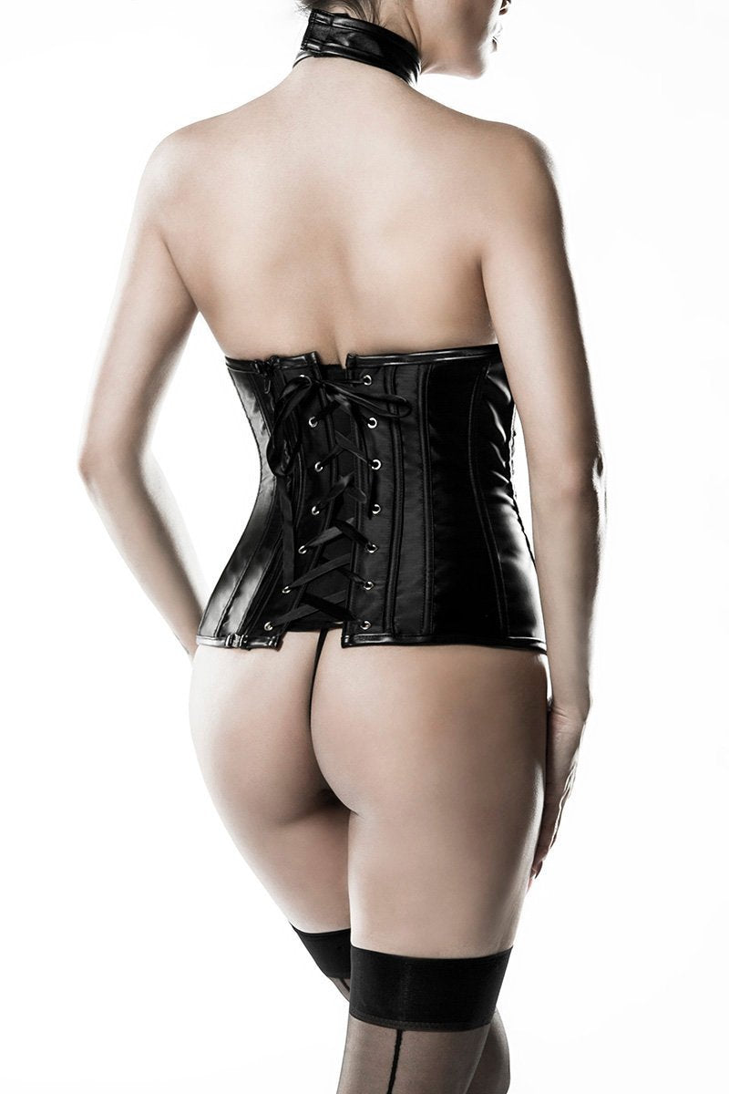 Grey Velvet Faux Leather Underbust Corset