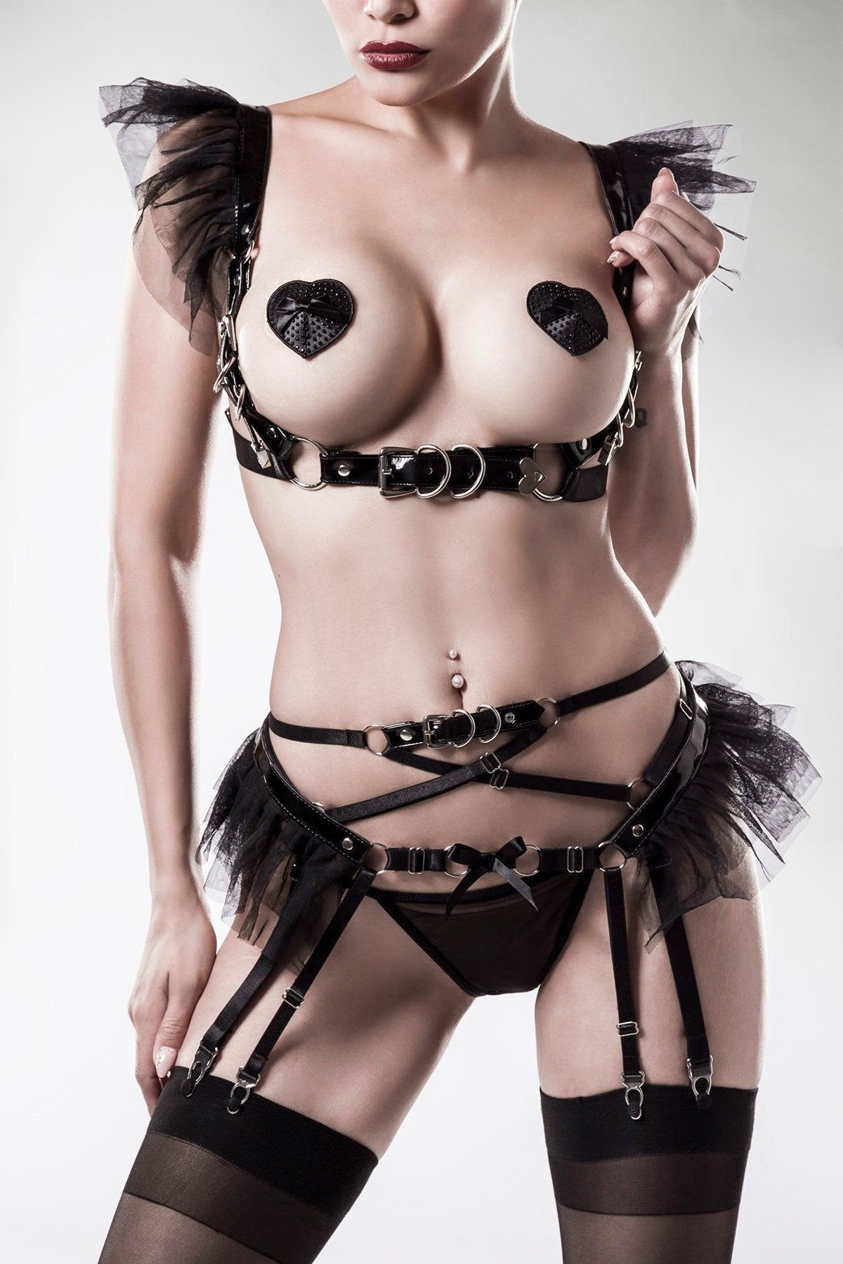 Grey Velvet Erotic 4 Piece Lingerie Set