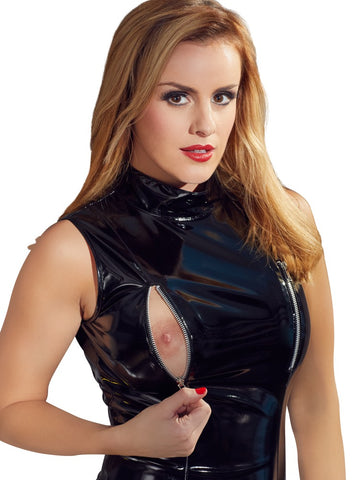 Black PVC Suspender Dress
