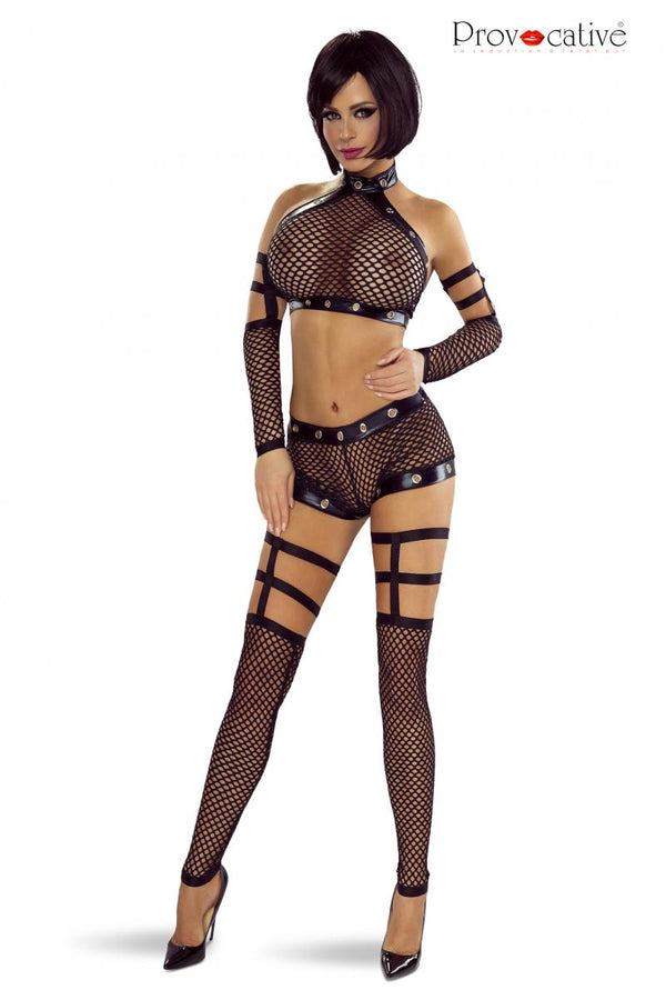 4 Piece Black Fishnet Set