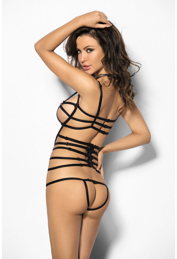 Antara Strappy Crotchless Bodysuit Black