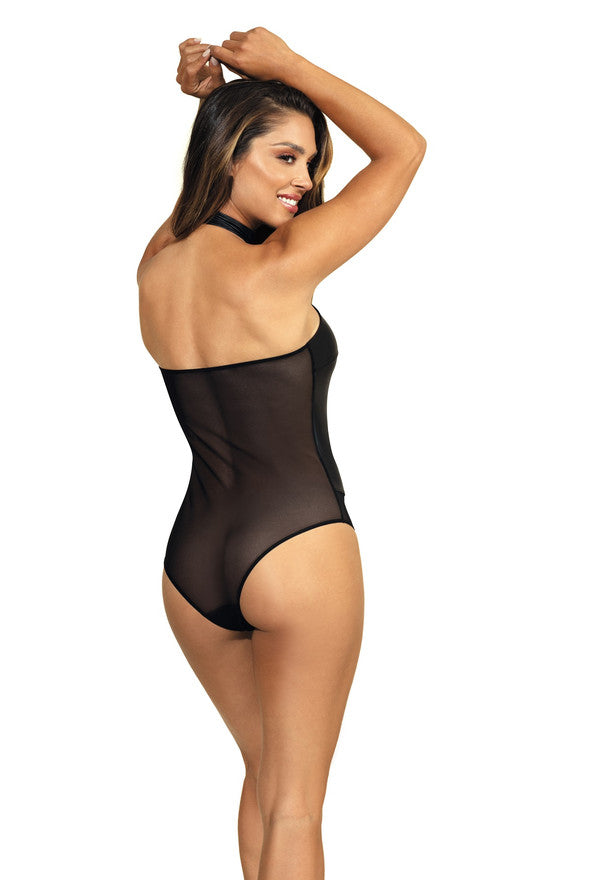 Black Wet Look Halter Neck Bodysuit