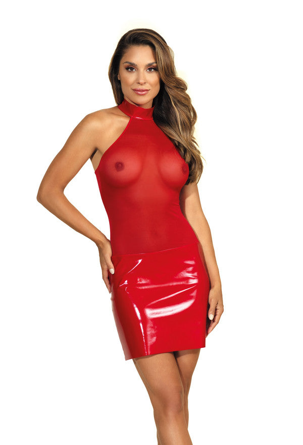 Red PVC mini dress