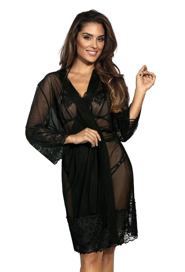 Black Lace Sheer Peignoir