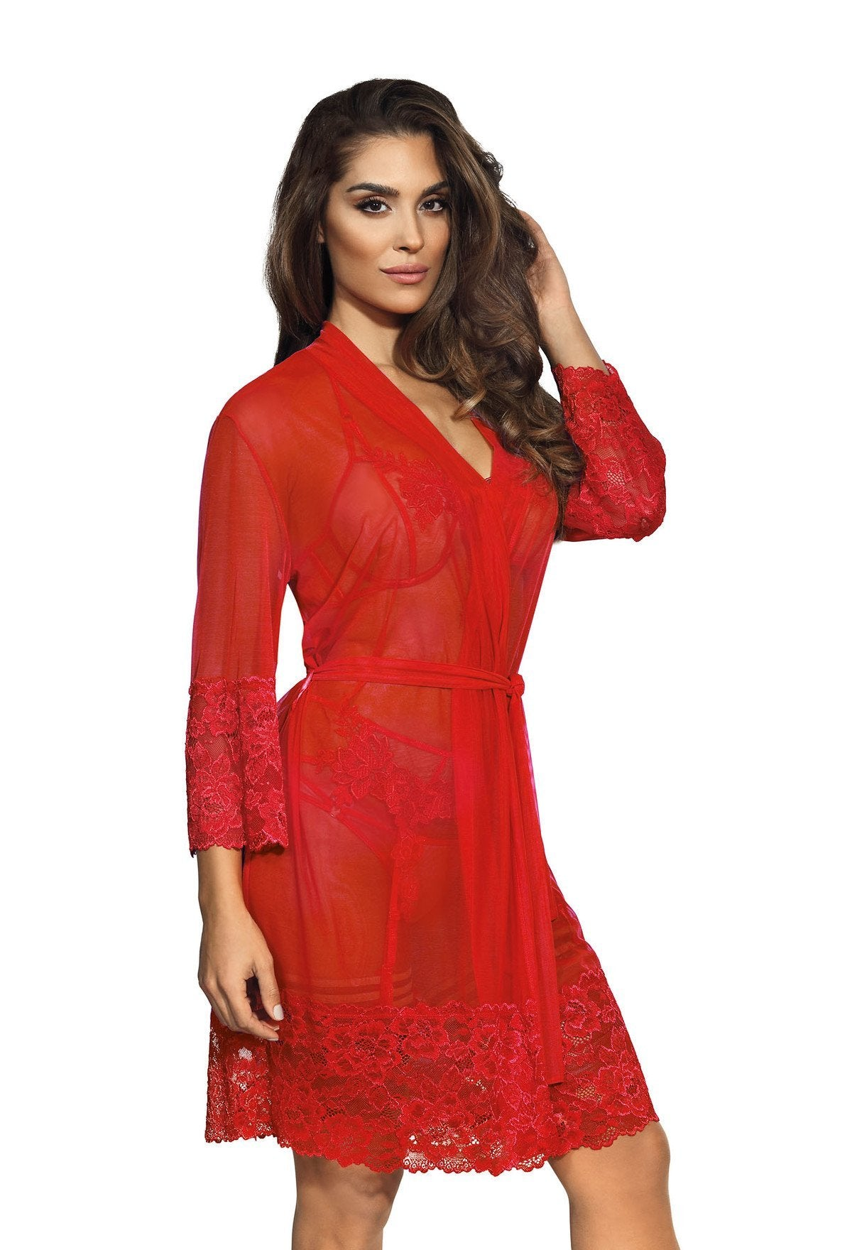 Sheer Red Lace Peignoir